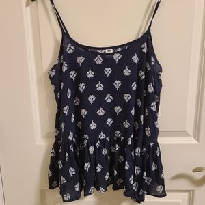Navy Blue old Navy tank top with frilled bottom